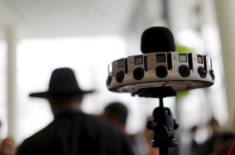 """A GoPro device featuring 16 cameras, to be used with Google's """"Jump,"""" to provide viewers with 360-degree video, is shown during the Google I/O developers conference in San Francisco"""