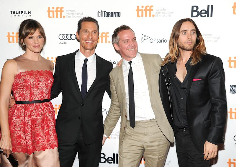 "Actress Jennifer Garner, left, actor Matthew McConaughey, director Jean-Marc Vallee and actor Jared Leto at the premiere of ""Dallas Buyers Club"" on day 3 of the 2013 Toronto International Film Festival at The Princess of Wales Theatre on Saturday, Sept. 7, 2013 in Toronto. (Photo by Evan Agostini/Invision/AP)"