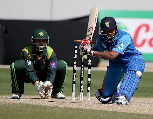 DUBAI, UNITED ARAB EMIRATES - FEBRUARY 15: Sarfaraz Khan of India bats during the ICC U19 Cricket World Cup 2014 match between India and Pakistan at the Dubai Sports City Cricket Stadium on February 15, 2014 in Dubai, United Arab Emirates. (Photo by Francois Nel - IDI/IDI via Getty Images)