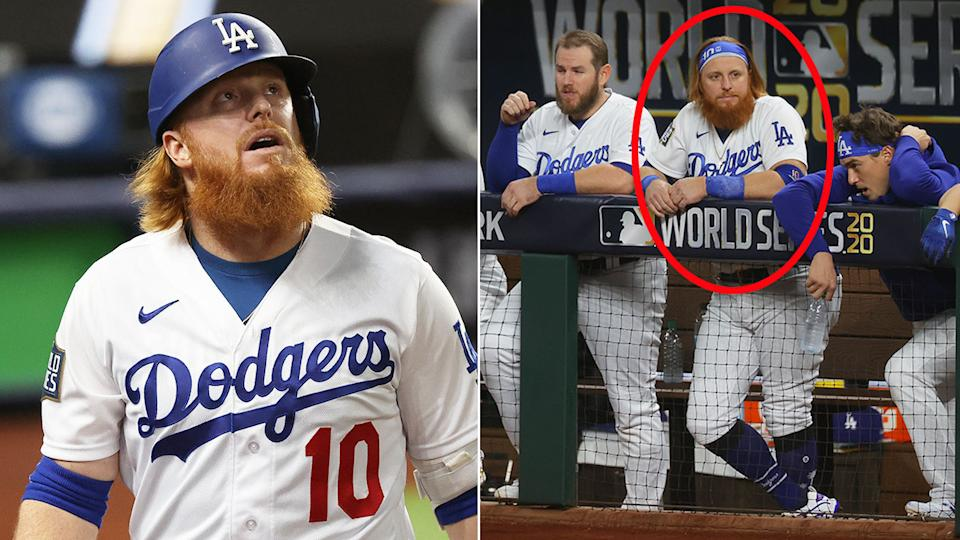 Pictured here, Justin Turner got news of a positive coronavirus test towards the end of Game 6.
