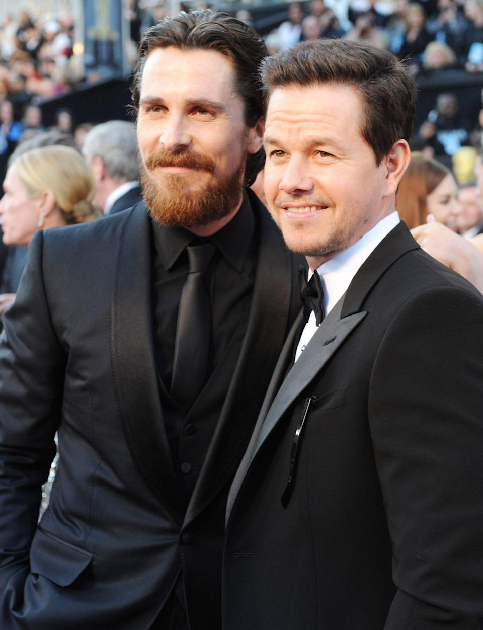 <p>Christian Bale and Mark Wahlberg, who both starred in the Oscar nominated film <em>The Fighter</em>, posed for a photo before the ceremony. </p>
