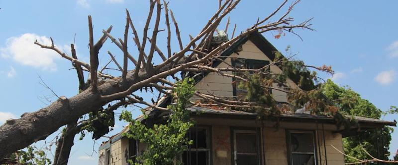tree fallen on house as result of severe storm