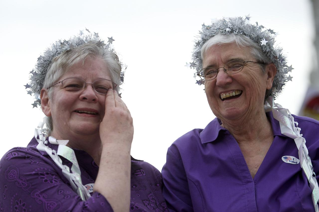 Delma and Peg Welch, who have been together for more than two decades, join gay rights supporters at a rally on the Pennsylvania State Capital steps after a ruling struck down a ban on same-sex marriage in Harrisburg, Pennsylvania, May 20, 2014. Pennsylvania's ban on same-sex marriage was struck down by a federal judge on Tuesday in the latest court decision in the United States confirming gay couples' rights to wed. REUTERS/Mark Makela (UNITED STATES - Tags: POLITICS SOCIETY)
