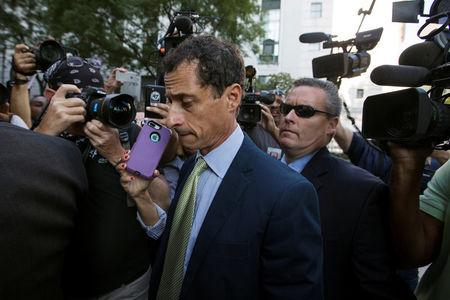 "Former U.S. Congressman Anthony Weiner arrives at U.S. Federal Court for sentencing after pleading guilty to one count of sending obscene messages to a minor, ending an investigation into a ""sexting"" scandal that played a role in last year's U.S. presidential election, in New York, U.S.,September 25, 2017. REUTERS/Lucas Jackson/Files"