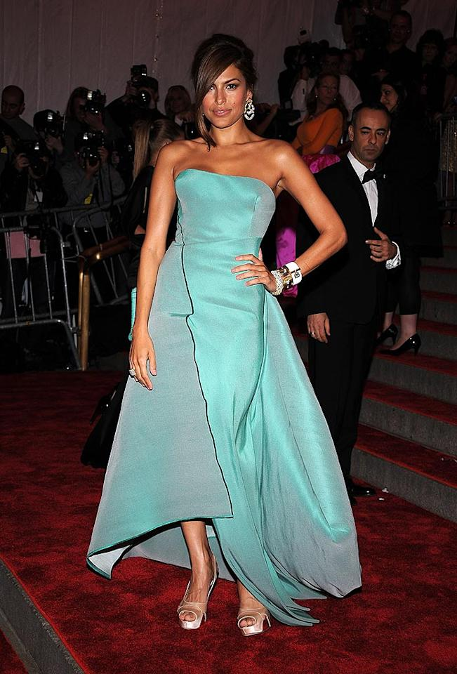 "Eva Mendes stole the spotlight in this bright and beautiful sea foam green Calvin Klein strapless sensation. Dimitrios Kambouris/<a href=""http://www.wireimage.com"" target=""new"">WireImage.com</a> - May 5, 2008"