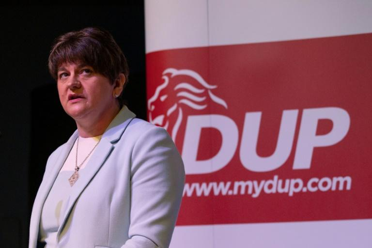 The DUP is the main party in Northern Ireland and is led by 49-year-old Arlene Foster (AFP Photo/PAUL FAITH)
