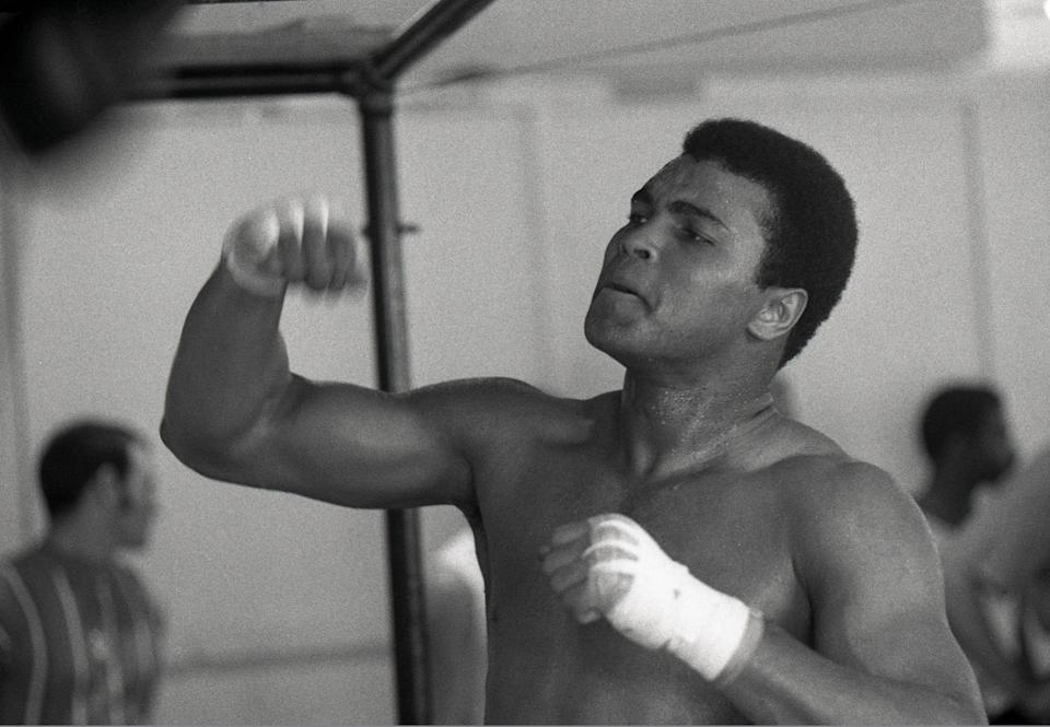 Muhammad Ali works out in 1971 in Miami Beach during training for his world heavyweight title bout with Joe Frazier.