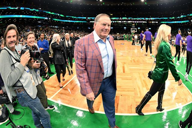 Bill Belichick did not wear this sportcoat to Alabama's pro day. (Photo by Andrew D. Bernstein/NBAE via Getty Images)