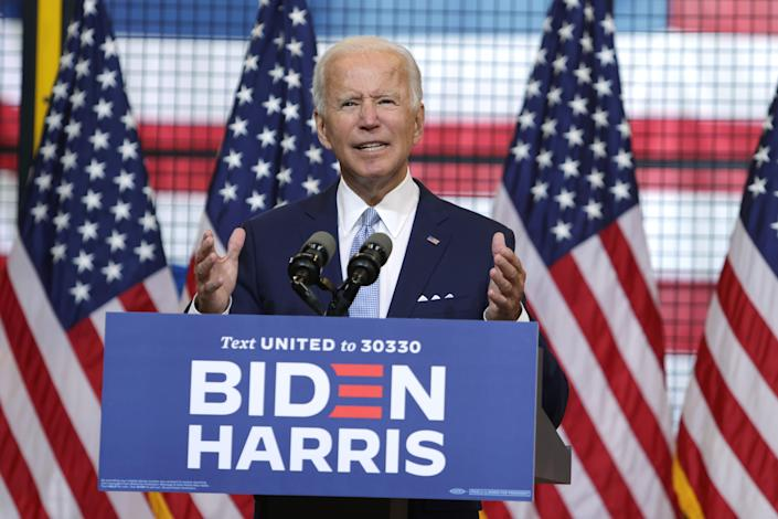 Democratic presidential candidate former Vice President Joe Biden speaks during a campaign event at Mill 19 on August 31, 2020 in Pittsburgh, Pennsylvania. (Alex Wong/Getty Images)