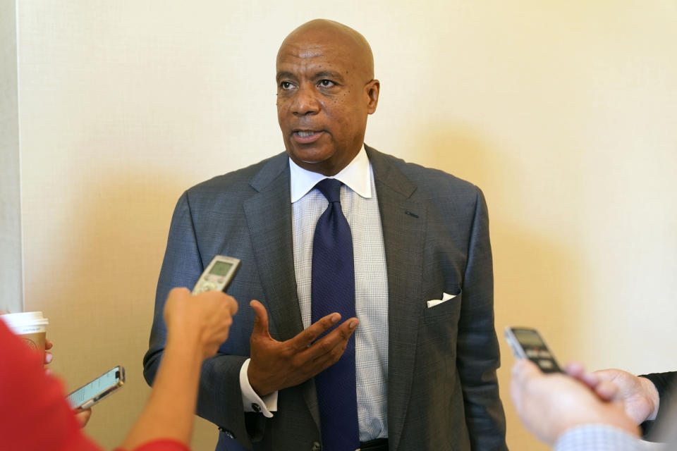 Big Ten Conference commissioner Kevin Warren speaks to reporters after the College Football Playoff meeting Tuesday, June 22, 2021, in Grapevine, Texas. The CFP met to discuss a proposed plan to expand the postseason format from four to 12 teams. (AP Photo/LM Otero)