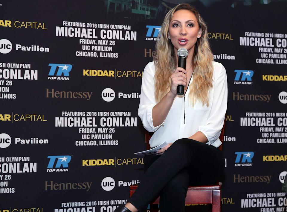 Crystina Poncher will call play-by-play for the Top Rank on ESPN card Saturday in Costa Mesa, California. (Mikey Williams/Top Rank)