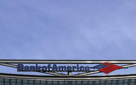The Bank of America logo is seen at their offices at Canary Wharf financial district in London,