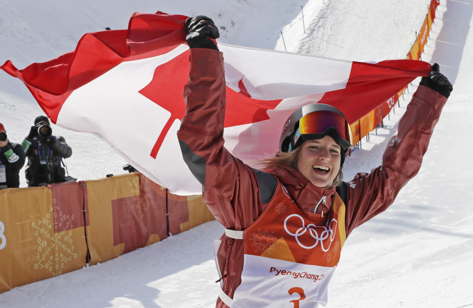 <p>Cassie Sharpe, of Canada, celebrates after winning the gold medal in the Women's Halfpipe final at the 2018 Winter Olympics in PyeongChang, South Korea, Tuesday, Feb. 20, 2018. (AP Photo/Kin Cheung) </p>