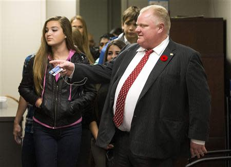 "Toronto Mayor Ford gives children a tour of the office during ""Take Your Kids to Work Day"" at City Hall in Toronto"