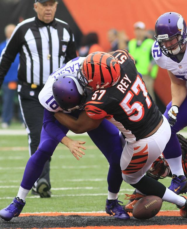 Minnesota Vikings quarterback Matt Cassel (16) fumbles the ball as he is hit by Cincinnati Bengals middle linebacker Vincent Rey (57) in the first half of an NFL football game on Sunday, Dec. 22, 2013, in Cincinnati. Cincinnati recovered the fumble. (AP Photo/Tom Uhlman)