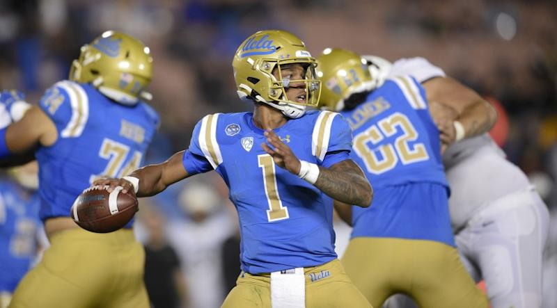 UCLA quarterback Dorian Thompson-Robinson in action during the second half of an NCAA college football game against Colorado in Los Angeles, Saturday, Nov. 2, 2019. UCLA won 31-14. (AP Photo/Kelvin Kuo)