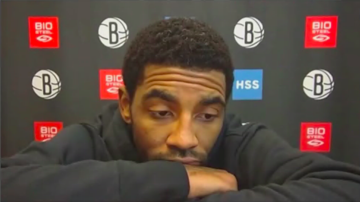 Kyrie Irving during his return press conference