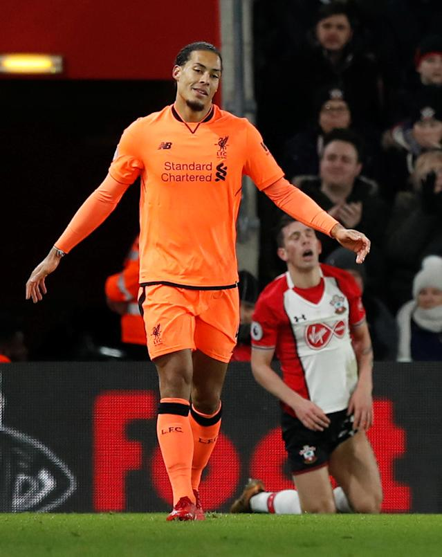 "Soccer Football - Premier League - Southampton vs Liverpool - St Mary's Stadium, Southampton, Britain - February 11, 2018 Liverpool's Virgil van Dijk reacts REUTERS/Eddie Keogh EDITORIAL USE ONLY. No use with unauthorized audio, video, data, fixture lists, club/league logos or ""live"" services. Online in-match use limited to 75 images, no video emulation. No use in betting, games or single club/league/player publications. Please contact your account representative for further details."