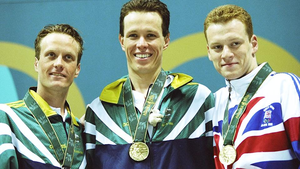 Daniel Kowalski, pictured here with Kieren Perkins and Graeme Smith at the Atlanta Olympics in 1996.