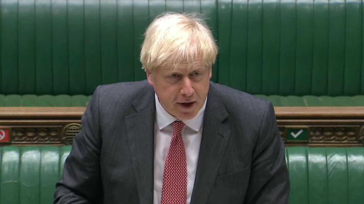 Prime Minister Boris Johnson speaking during the debate on the Internal Market Bill in the House of Commons, London. (Photo by House of Commons/PA Images via Getty Images)