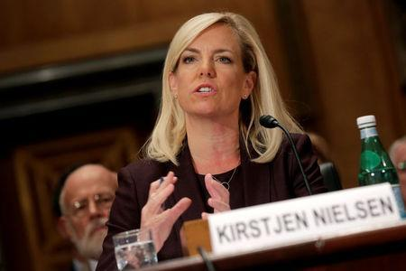 FILE PHOTO: Kirstjen Nielsen testifies to the Senate Homeland Security and Governmental Affairs Committee on her nomination to be secretary of the Department of Homeland Security (DHS) in Washington, U.S. on November 8, 2017. REUTERS/Joshua Roberts/File Photo