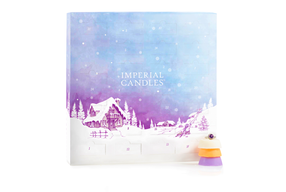 """<p>24 natural soy wax melts lovingly poured in England. From apple cinnamon to spiced orange, fill your house with a new festive fragrance each day of advent. Also includes one surprise hidden jewel worth up to £2,000.</p><p>£32.99 <a href=""""https://www.imperialcandles.co.uk/shop/advent-calendar/"""" rel=""""nofollow noopener"""" target=""""_blank"""" data-ylk=""""slk:Imperial Candles"""" class=""""link rapid-noclick-resp"""">Imperial Candles</a></p>"""