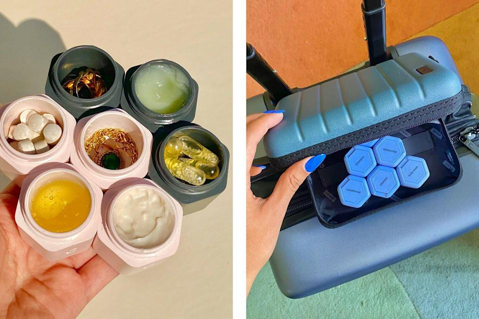 Magnetic travel capsule toiletry cases