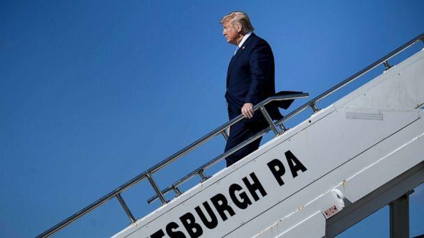 PHOTO:President Donald Trump arrives at Pittsburgh International Airport, Oct. 23, 2019, in Pittsburgh. (Brendan Smialowski/AFP/Getty Images)