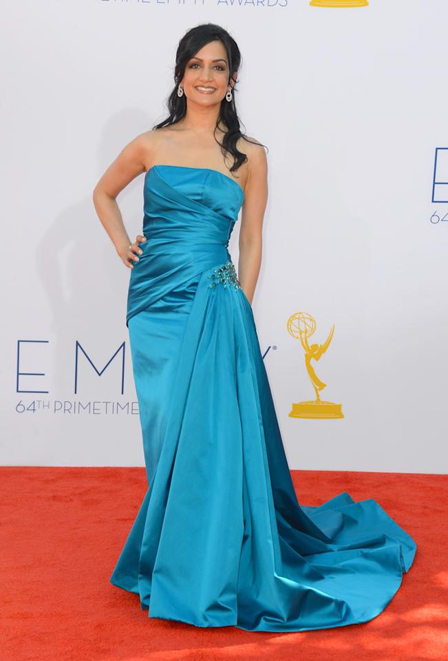 Actress Archie Panjabi arrives at the 64th Primetime Emmy Awards at the Nokia Theatre in Los Angeles on September 23, 2012.