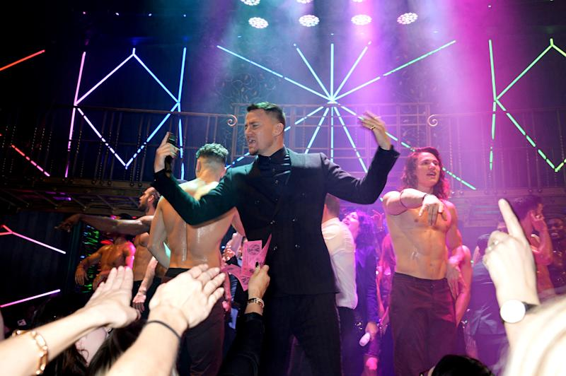 """LONDON, ENGLAND - NOVEMBER 28: Channing Tatum (C) at the Opening Night of """"Magic Mike Live"""" at The Hippodrome on November 28, 2018 in London, England. (Photo by David M. Benett/Dave Benett/Getty Images for Magic Mike Live)"""