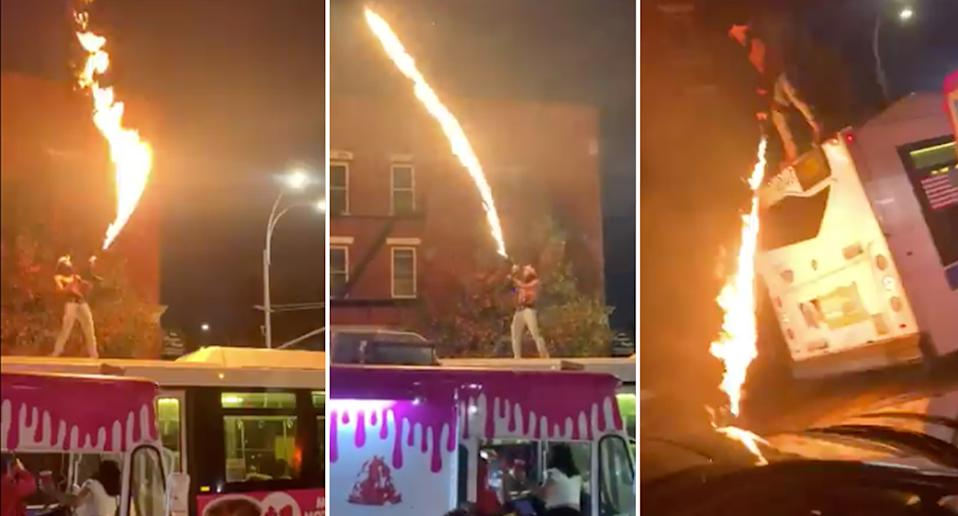 Dupree Flame G.O.D used a flame thrower to film a stunt for social media.