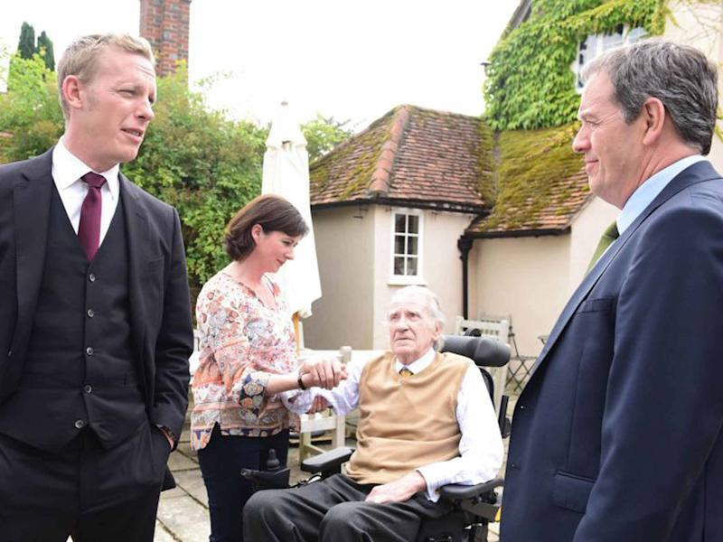 Laurence Fox, Mali Harries, David Warner and Kevin Whately in 'Lewis'