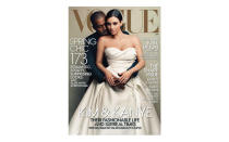 <p>Not ones to shy away from a magazine cover shoot, Kim and Kanye starred on the cover of US Vogue in celebration of their nuptials. The issue was one of the best-selling covers the magazine ever sold, shifting an impressive 500,000 issues in total. <em>[Photo: Vogue]</em> </p>