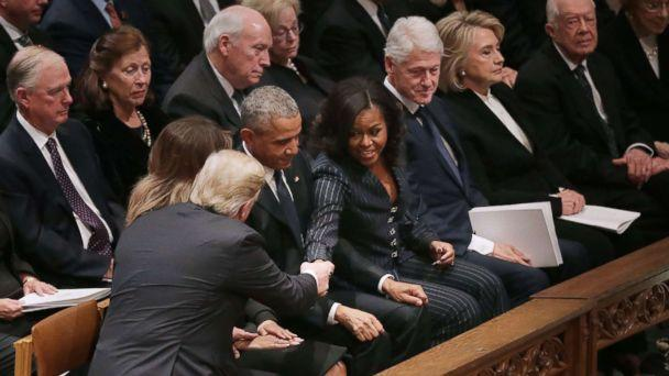 PHOTO: President Donald Trump and first lady Melania Trump greet former President Barack Obama and Michelle Obama, joining other former presidents and their spouses for the state funeral for former President George H.W. Bush, Dec. 5, 2018 in Washington. (Chip Somodevilla/Getty Images)