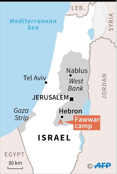 Map of the West Bank locating the Fawwar camp, where a Palestinan teenager was shot dead during clashes with Israeli forces (AFP Photo/Sabrina Blanchard)