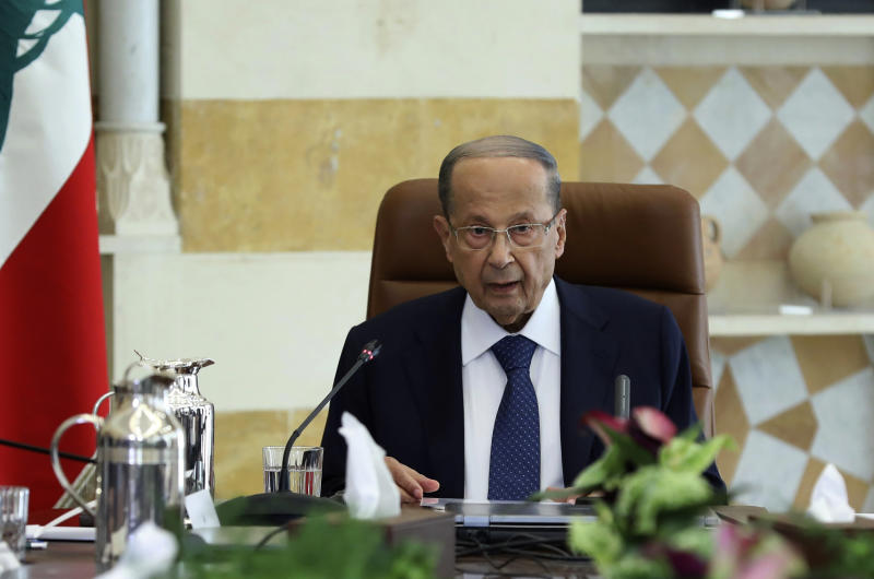 """In this photo released by Lebanon's official government photographer Dalati Nohra, Lebanese President Michel Aoun meets with political leaders with the aim of finding solutions to the country's economic crisis, in the presidential palace, in Baabda, east of Beirut, Lebanon, Monday, Sept. 2, 2019. Aoun said in a speech at the opening of the one-day session that everyone should make """"sacrifices"""" in order to get one of the world's most indebted countries out of its problems. (Dalati Nohra via AP)"""