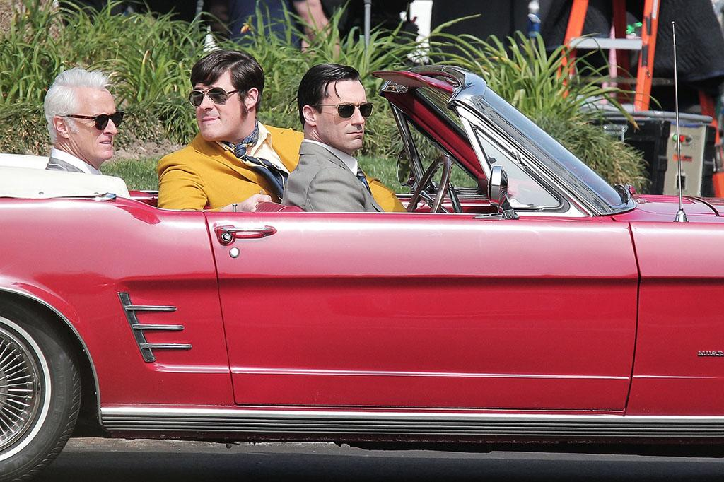 "Tuesday March 5, 2013. Jon Hamm, John Slattery and Rich Sommer film a scene for their hit TV show ""Mad Men"" in Los Angeles. The trio can be seen riding around in a red, vintage Mustang Convertible as they filmed scenes for an upcoming episode."