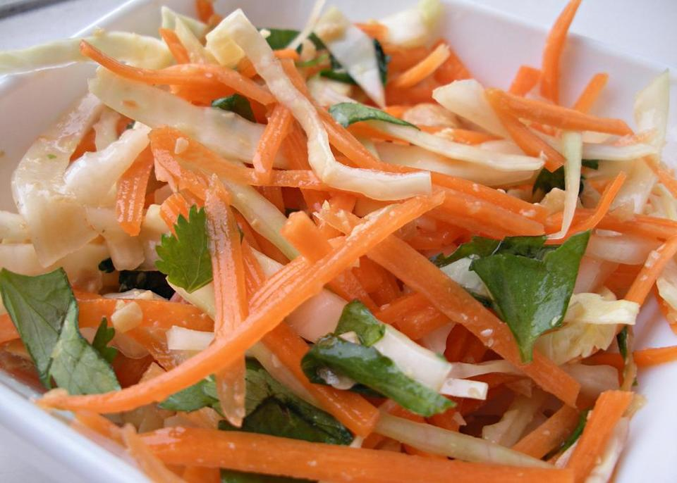 """<p><b>Home-style Carrot Salad:</b></p><p>Also called """"koshimbir"""" across Maharashtrian homes, this carrot salad is a great side dish. Take 1 cup grated carrot in a bowl. Add 2 tsp crushed peanuts & mix well. Head 2 tsp oil with little cumin & 1 medium green chili slit in the middle, allow the cumin seeds to crackle. Pour over grated carrot, add salt & sugar to taste & mix well. Garnish with chopped coriander. <br></p>"""