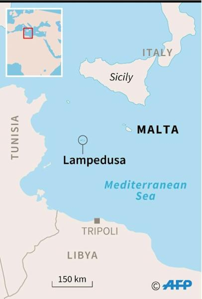 Map locating the Italian island of Lampedusa where nearly 180 migrants are stranded on a coastguard ship as Italy and Malta argue over who should take them