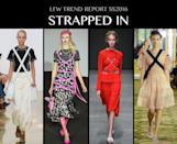 <p>BDSM lives on, whether it's the DIY-style cross body bags harnesses seen at J.W. Anderson, the leather-and-stud bondage style versions at Vivienne Westwood Red Label, or the cotton sashays that criss crossed Simone Rocha's pretty cotton dresses. The harness comes in all shapes, sizes and fabrics this season. You just need to know how to tie one on or more importantly, how to get out of it! Photo: IMAXtree</p>