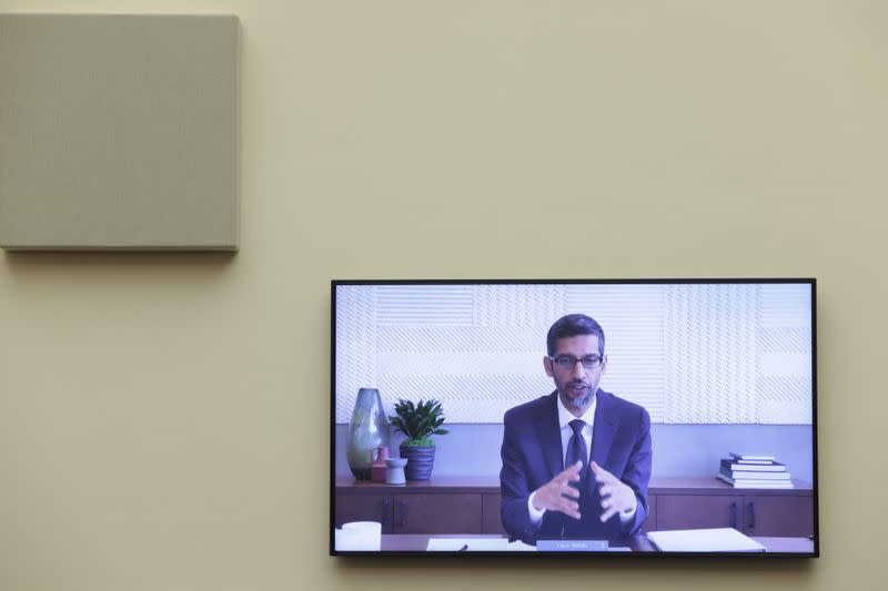"""Google CEO Sundar Pichai speaks via video conference before the House Judiciary Subcommittee on Antitrust, Commercial and Administrative Law on """"Online Platforms and Market Power"""" on Capitol Hill"""