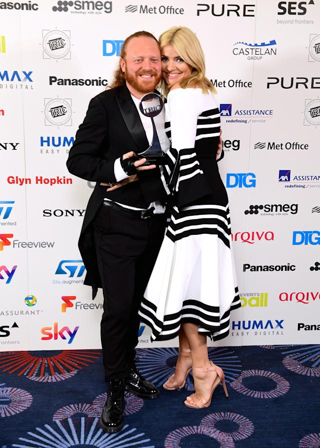 Leigh Francis aka Keith Lemon and Holly Willoughby with the award for Satellite/Digital Programme for Celebrity Juice during the 2017 Television and Radio Industries Club Awards, Grosvenor House, Park Lane, London. (Photo by Ian West/PA Images via Getty Images)
