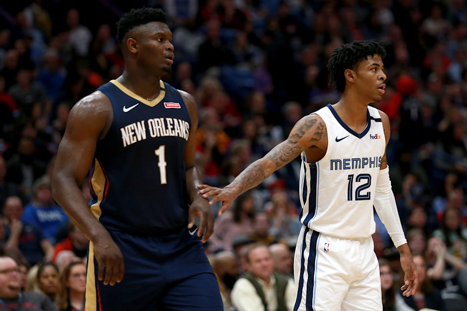 Rookie sensations Zion Williamson and Ja Morant will meet in a game with massive playoff implications. (Sean Gardner/Getty Images)