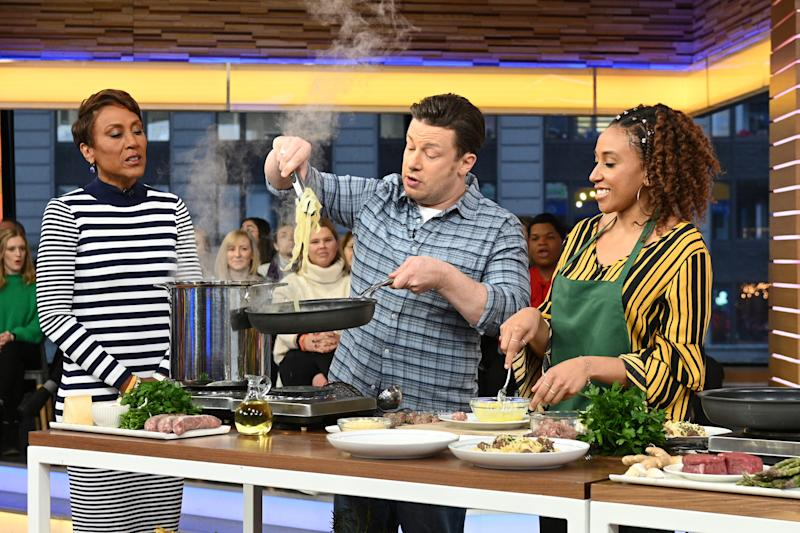 "Jamie Oliver as a guest on ""Good Morning America,"" (Photo by Lorenzo Bevilaqua/Walt Disney Television via Getty Images)"
