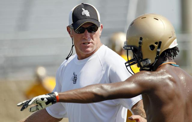FILE - In this July 30, 2012, file photo, Former NFL quarterback Brett Favre, left, now an assistant football coach at Oak Grove High School explains a pass route to receiver Shane McClendon in Hattiesburg, Miss. Favre dismissed the possibility of returning to the NFL with St. Louis Rams. (AP Photo/Rogelio V. Solis, File)