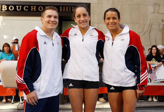 NEW YORK, NY - JULY 27: (L-R) U.S. Olympic Hopefuls Jon Horton, Jordan Wieber and Alicia Sacramone pose during an appearance on the NBC Today Show on July 27, 2011 in New York City (Photo by Mike Stobe/Getty Images)