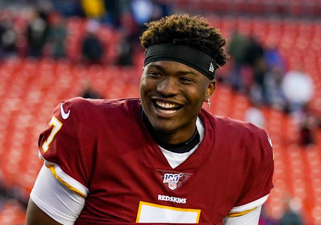 Washington quarterback Dwayne Haskins has the arm talent and ability for big-time throws. (Photo by Nicole Fridling/Icon Sportswire via Getty Images)