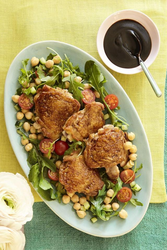 "<p>In the mood for something savory but sweet? These juicy chicken thighs drizzled with a homemade honey glaze will hit the spot. </p><p><strong><a href=""https://www.womansday.com/food-recipes/food-drinks/a19757604/honey-balsamic-glazed-chicken-with-arugula-salad-recipe/"" target=""_blank"">Get the recipe.</a></strong></p>"
