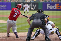 Philadelphia Phillies' Jean Segura (2) doubles off Pittsburgh Pirates starting pitcher Mitch Keller, driving in two runs, during the second inning of a baseball game in Pittsburgh, Sunday, Aug. 1, 2021. (AP Photo/Gene J. Puskar)