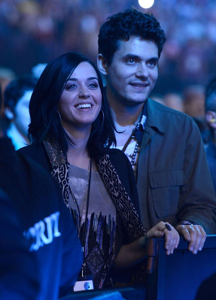NEWARK, NJ - DECEMBER 13:  (Exclusive Coverage) Katy Perry and John Mayer in the audience watching The Rolling Stones perform at Prudential Center on December 13, 2012 in Newark, New Jersey. The Rolling Stones concert this Saturday, December 15, 2012 will be a telecast live worldwide via pay-per-view at 9pm EST/6pm PST.  (Photo by Kevin Mazur/WireImage)